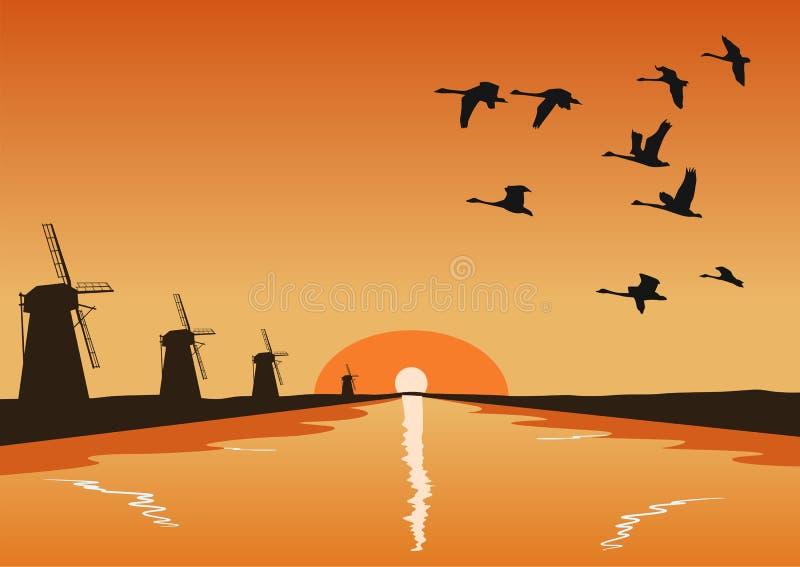 Multitud de los gansos que vuelan sobre el río con los molinos en la puesta del sol stock de ilustración