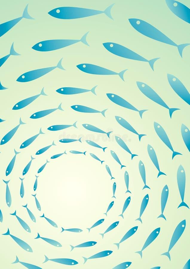 Multitud de pescados en el mar ilustración del vector