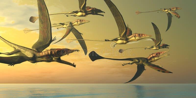 Multitud del dinosaurio de Eudimorphodon stock de ilustración