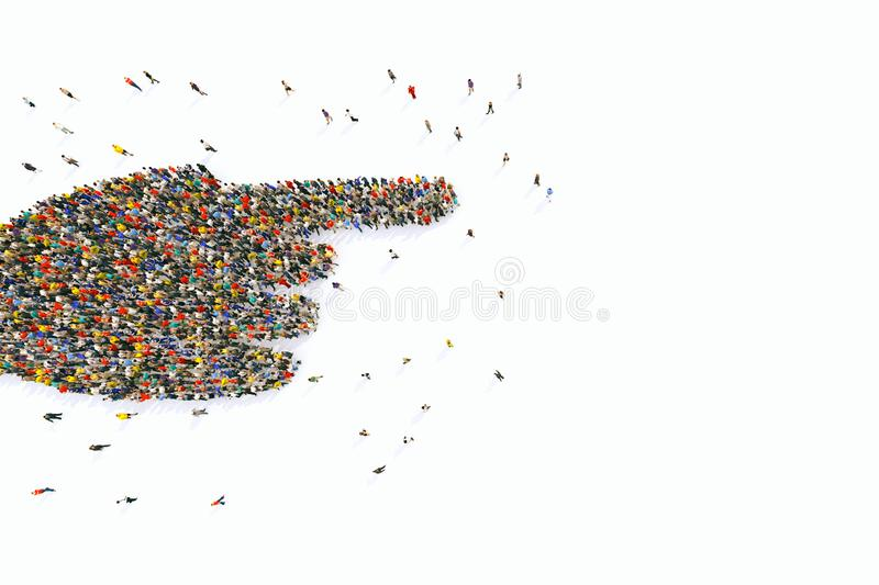 Crowd of people united forming a hand pointing. 3D Rendering. Multitude of people united in the same direction. 3D Rendering royalty free illustration