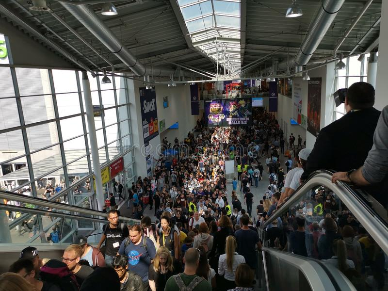 Multitudes of people at Gamescom 2019 royalty free stock photography