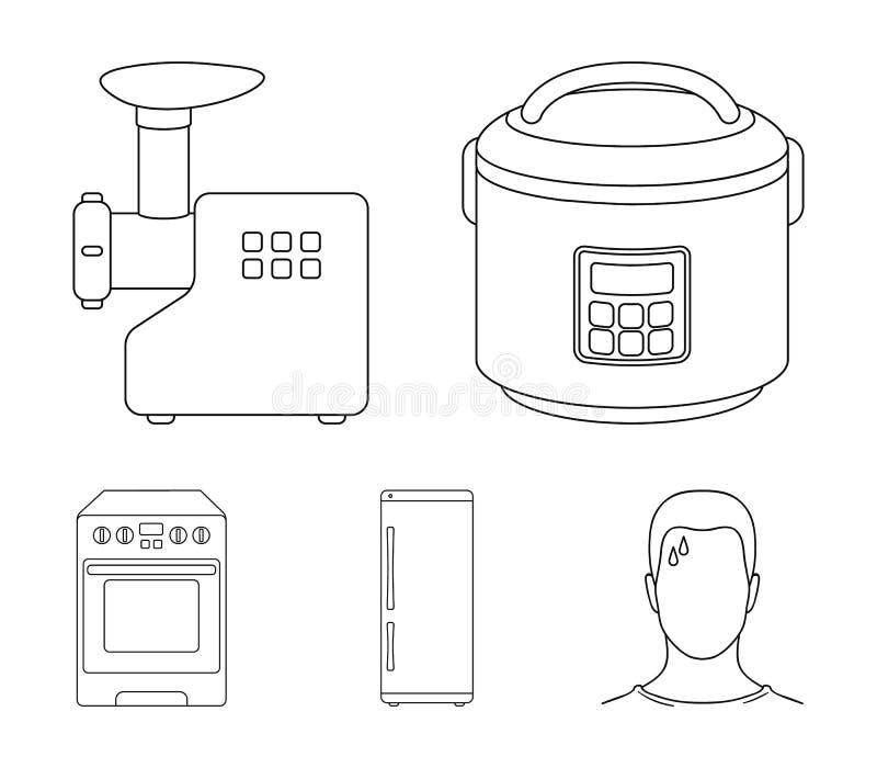 Multivarka, Kühlschrank, Fleischwolf, Gasherd Vector gesetzte Sammlungsikonen des Haushalts in der Entwurfsart Symbolvorrat lizenzfreie abbildung