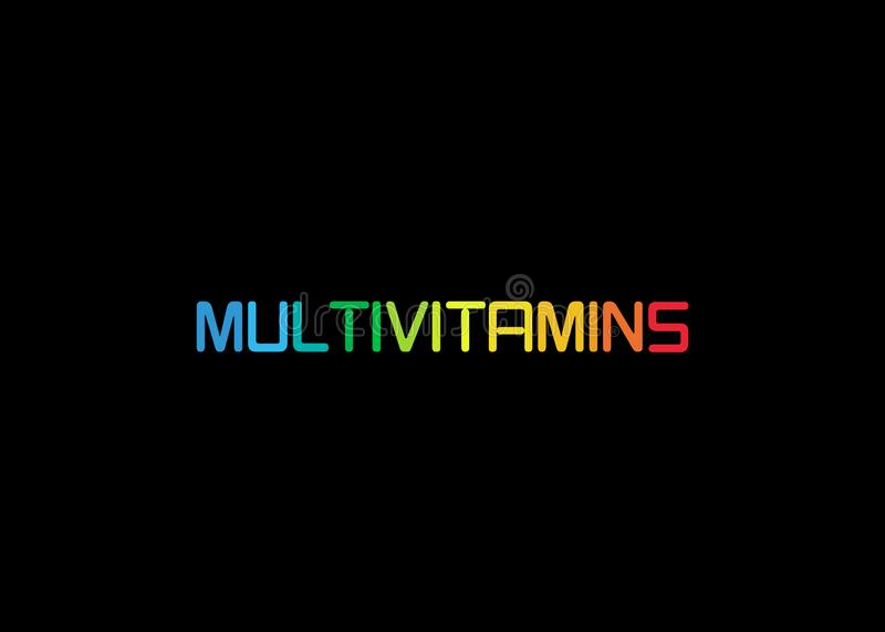 Multivitamin etykietki inspiracja, ikony poj?cia witaminy, odizolowywa? ilustracja wektor
