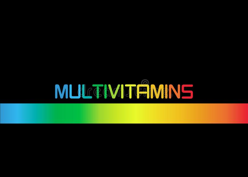 Multivitamin label inspiration, icon concept vitamins, isolated. Multivitamin label inspiration, banner icon concept vitamins, isolated or black background stock illustration