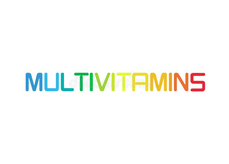 Multivitamin label inspiration, icon concept vitamins, isolated. Multivitamin label inspiration, banner icon concept vitamins, colorful text isolated or white royalty free illustration