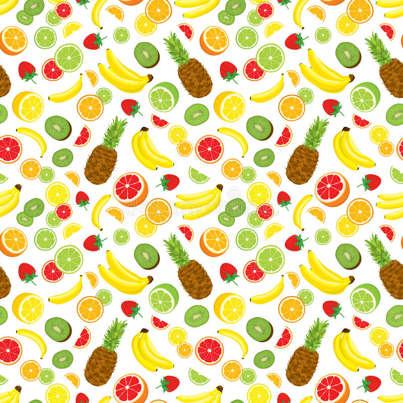 Multivitamin seamless background with whole pineapple, fresh green kiwi slices, strawberries, citrus fruits and bananas. Vector illustration on white vector illustration