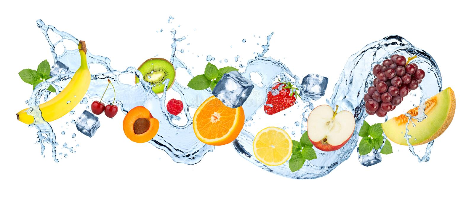 Multivitamin water fruit splash wave. Multivitamin water splash wave with various fruits peppermint leafs and ice cubes isolated on white background stock illustration