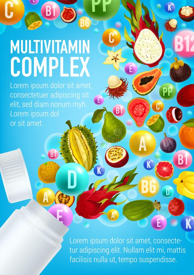 Multivitaminaffisch, vitaminpreventivpiller och frukter royaltyfri illustrationer