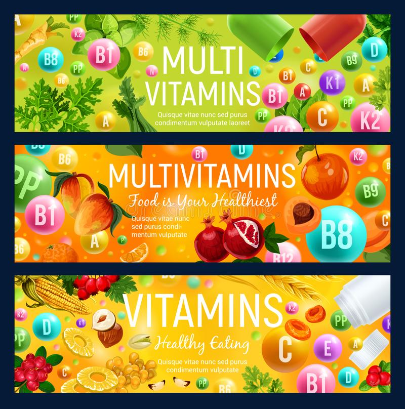 Multivitaminbaner, naturlig vitaminmat royaltyfri illustrationer