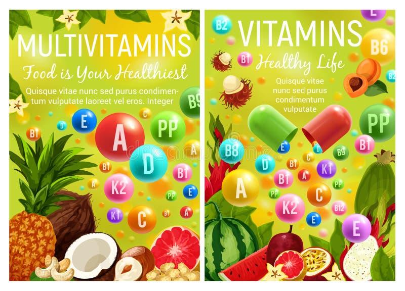 Multivitamins et complexe de vitamine en fruits illustration libre de droits