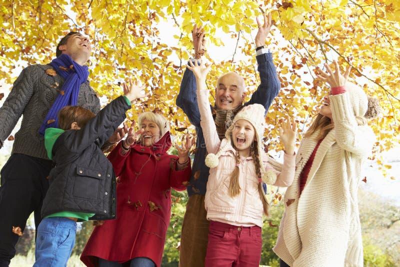 Multl utvecklingsfamilj som kastar sidor i Autumn Garden royaltyfri fotografi