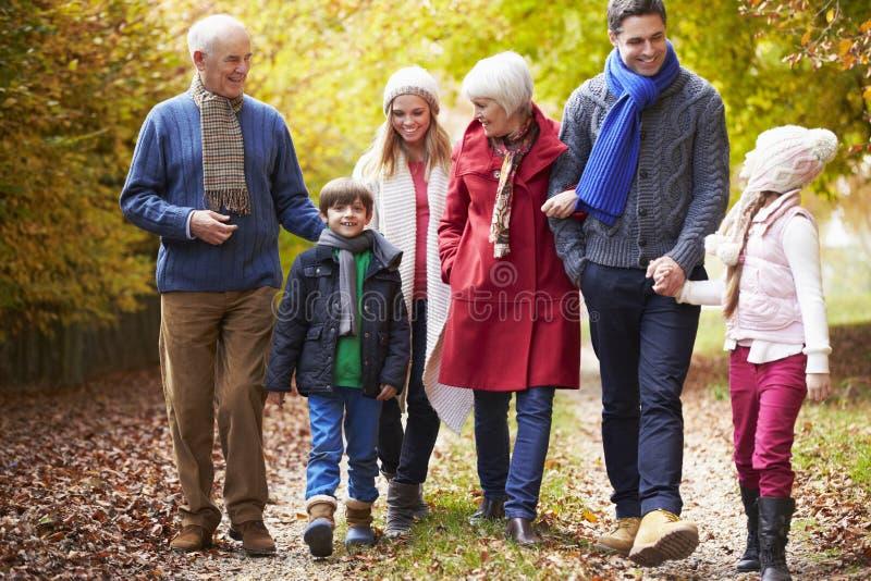 Multl utvecklingsfamilj som promenerar Autumn Path royaltyfri fotografi