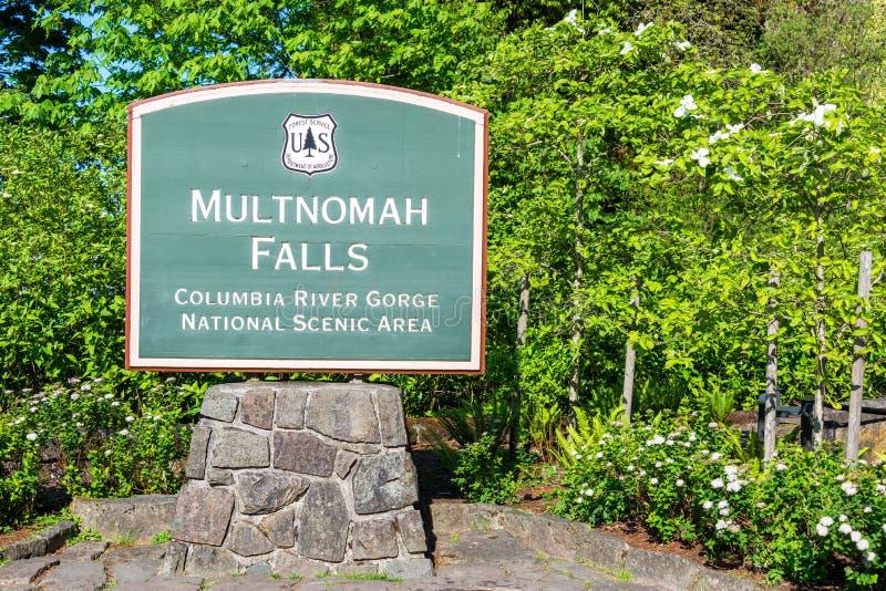 Multnomah cai sinal imagem de stock