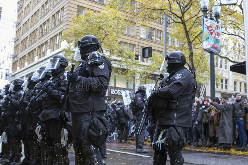 Multnomah County Sheriff in Riot Gear During Occupy Portland 2011 Protest royalty free stock images