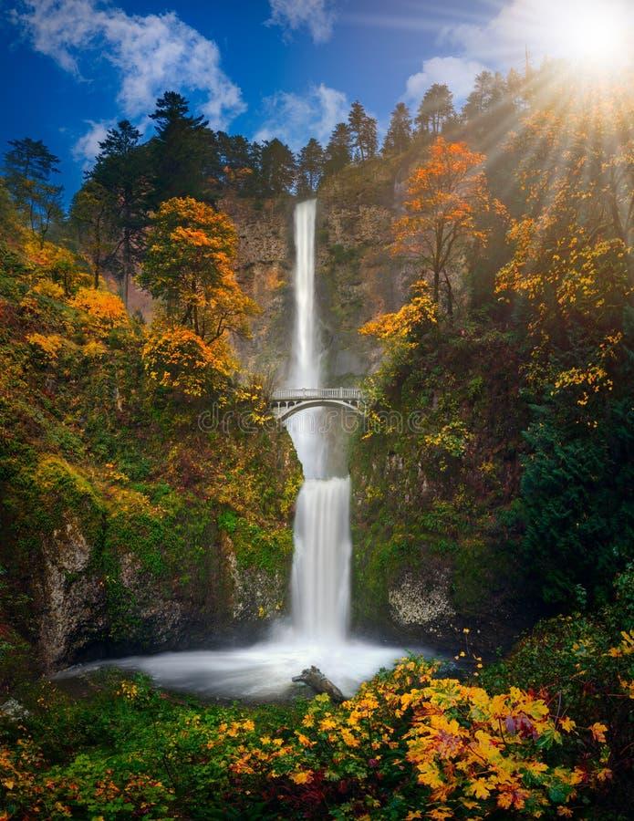 Multnomah Falls in Autumn colors. High resolution stock image