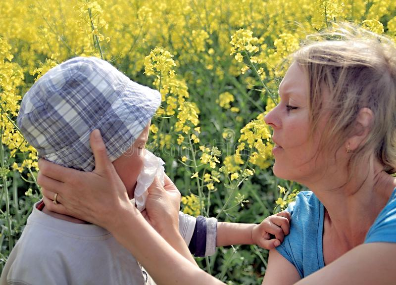 Mum που βοηθά το χτύπημα παιδιών της η μύτη του στοκ εικόνες