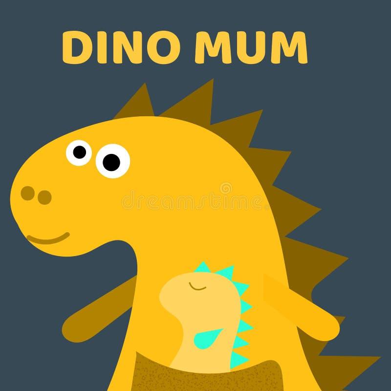 Mum bonito de Dino com um dinossauro pequeno Caráter tirado do vetor da cor da menina de Dino mão lisa Dinossauro amarelo bonito  ilustração do vetor