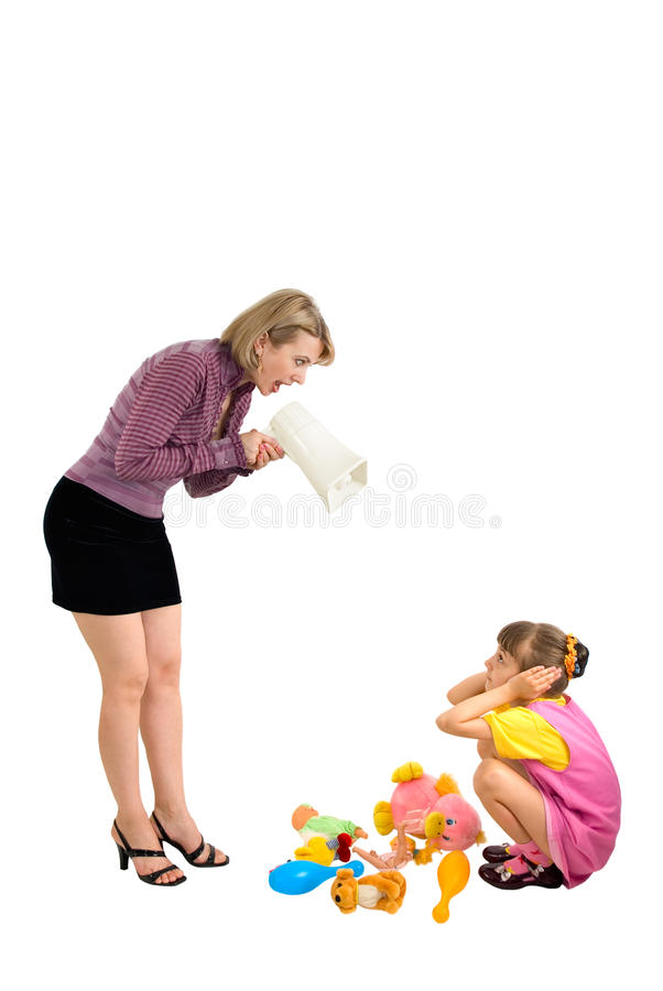 Mum and the daughter. Mother shouts at the daughter in a megaphone stock photo