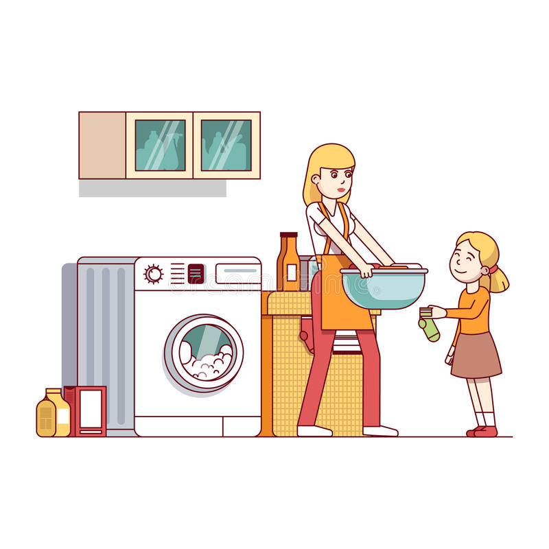 Mum and daughter doing housework in laundry room. Little girl kid helping her mother chores in laundry room with washing machine, clothes basket. Mum and stock illustration