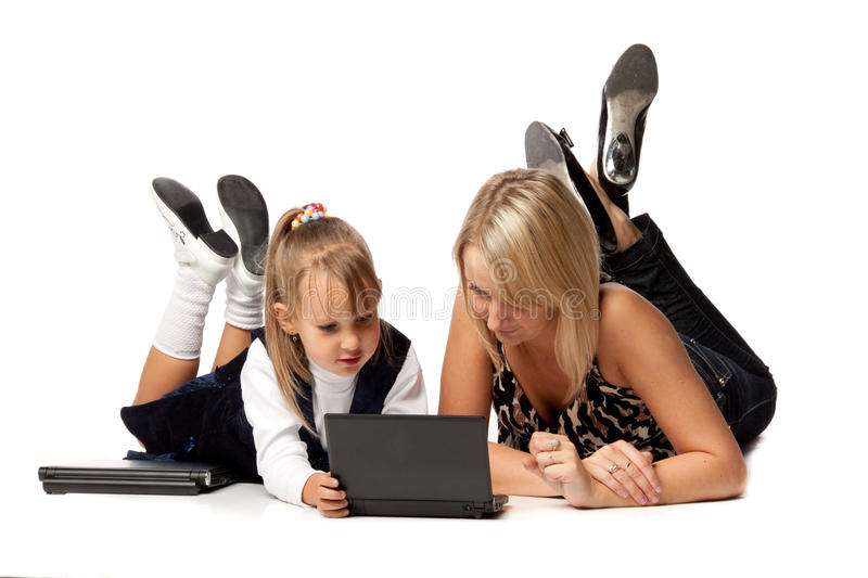 Download Mum And Daughter With Notebook Stock Image - Image of little, background: 11155005