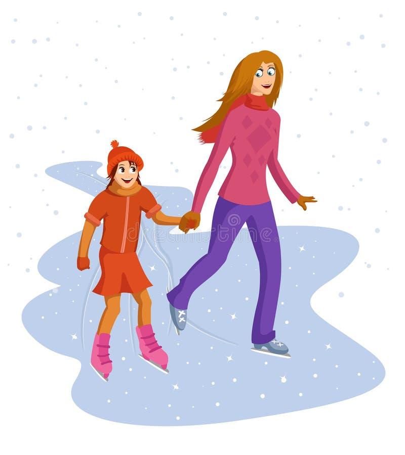 Mum And Daughter Skating Stock Photos