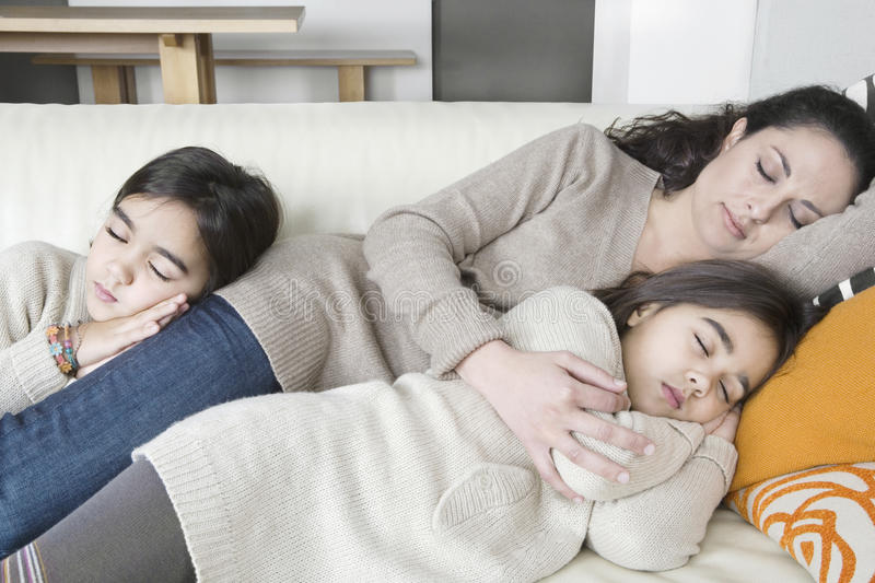 Download Mum And Daughters Sleeping On Couch Stock Photo - Image: 28831486