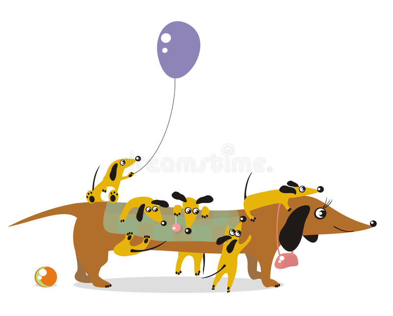 Mum-dog. And its playful children vector illustration
