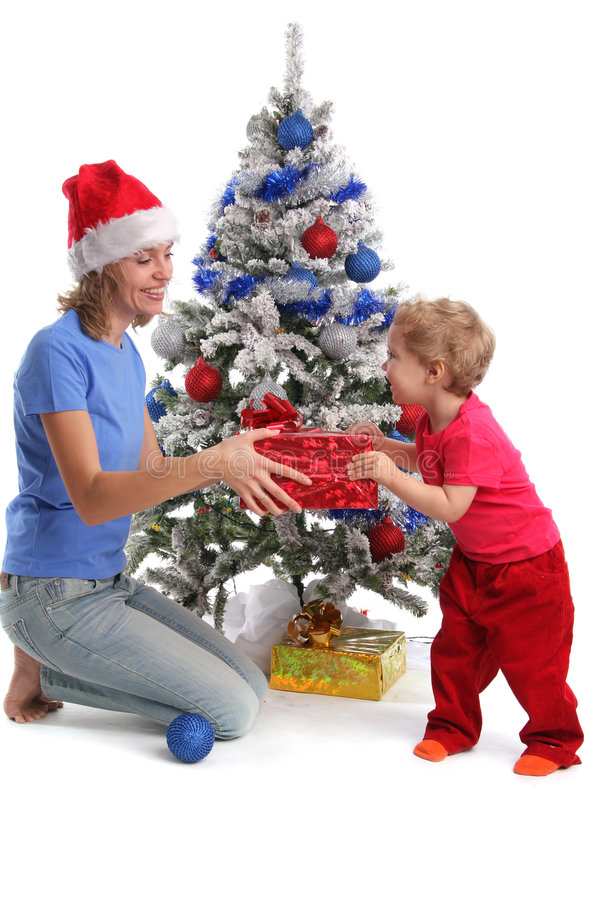 Download Mum Gives A Gift To The Daughter For Christmas 2 Stock Image - Image of person, christmas: 7339945