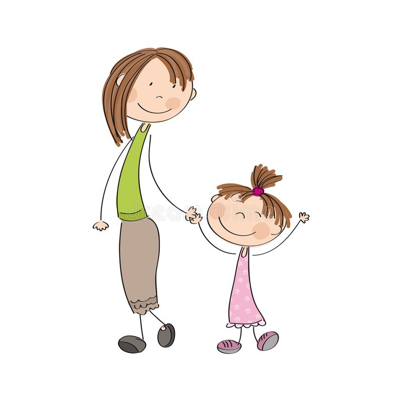 Mum with her daughter - original hand drawn illustration. Original hand drawn iluustration of mum with her daughter royalty free illustration