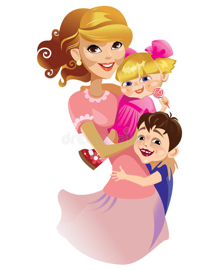 Download Mum with kids stock vector. Illustration of pretty, girl - 14191106