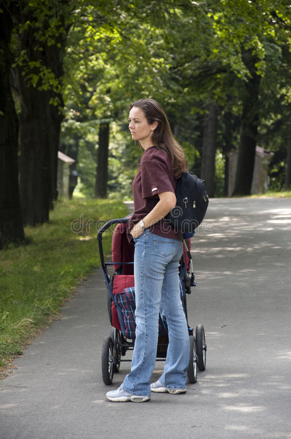 Download Mum with pram stock image. Image of active, mother, parenting - 11170025
