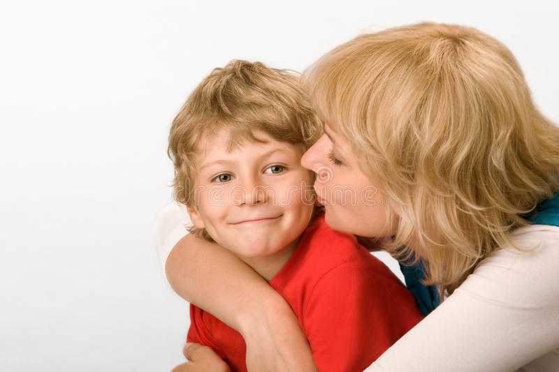 Mum and the son stock photos