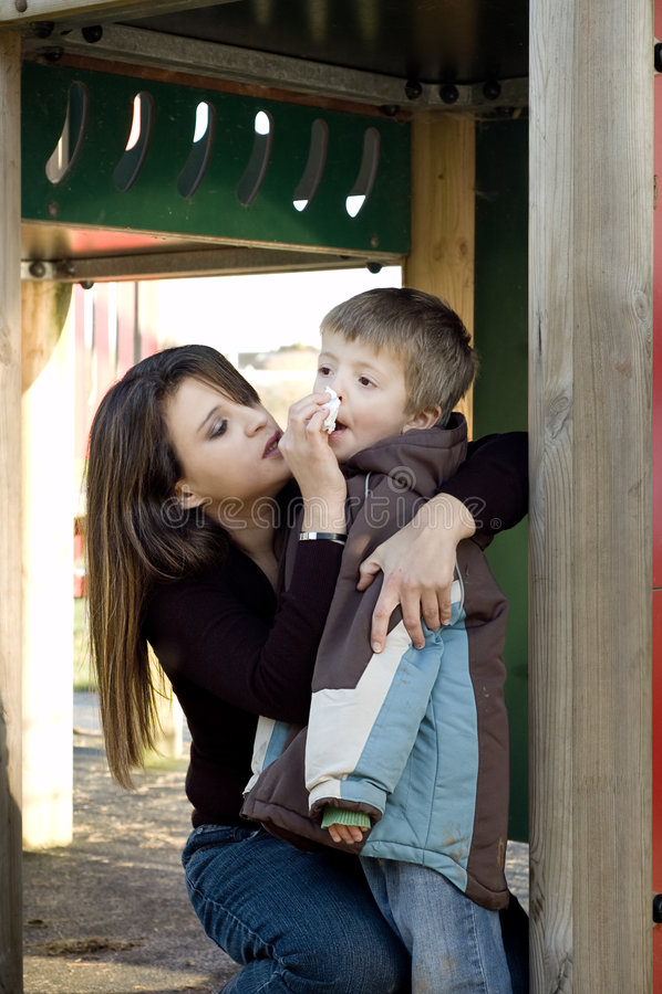 Mum and son stock photos