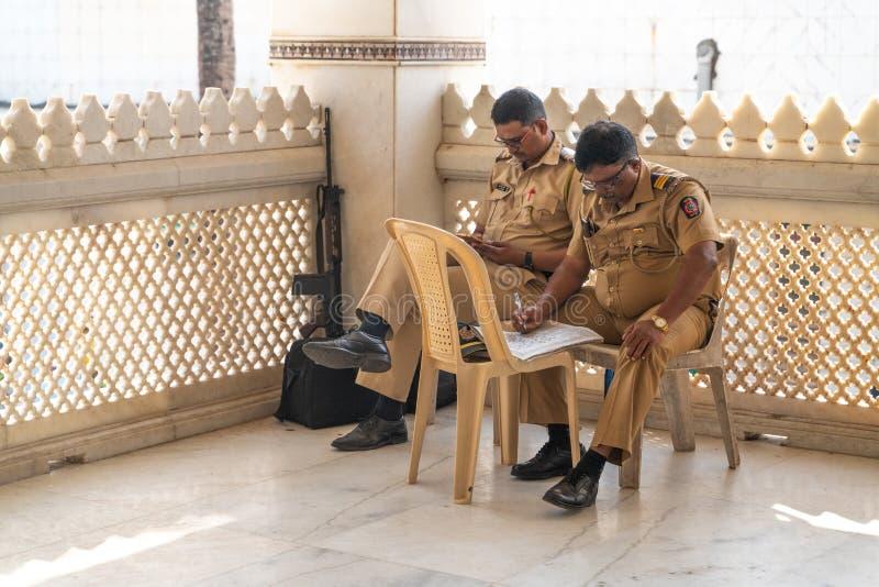 Mumbai-16 01 2019: Το ινδικό καθήκον αστυνομίας σε Mumbai στοκ εικόνα με δικαίωμα ελεύθερης χρήσης