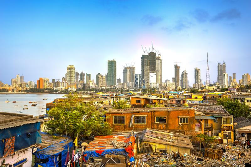 Mumbai city, India. Mumbai cityscape with a big contrast between poverty and wealth, Maharashtra, India stock photography