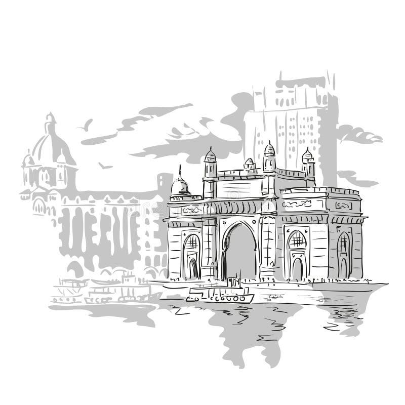 Mumbai, de Poort van India stock illustratie