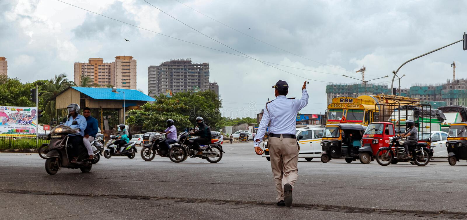 Mumbai,India,August-21-2019:India`s new motor vehicle act posing challenges to traffic police managing traffic offences. India`s new motor vehicle act posing stock images