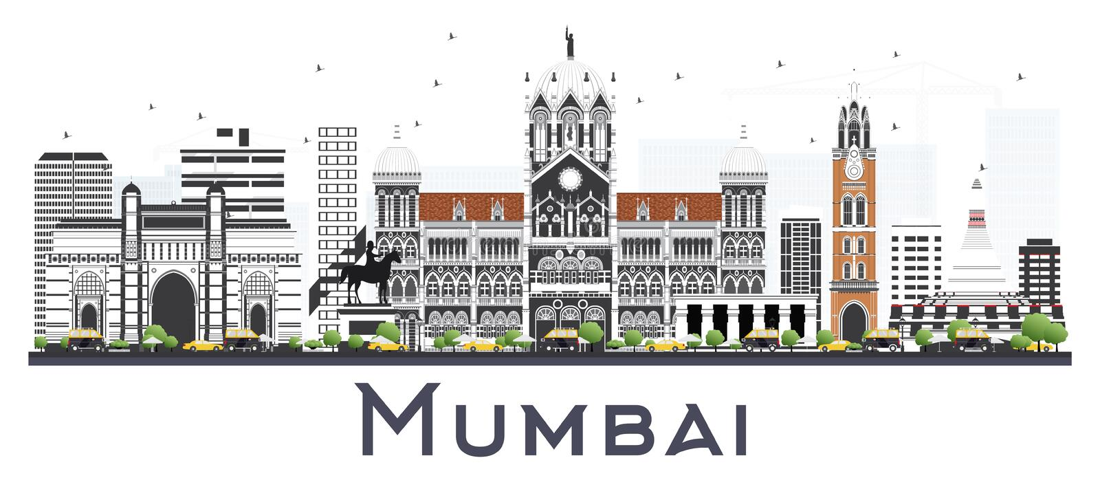 Mumbai India City Skyline with Color Buildings Isolated on White. Vector Illustration. Business Travel and Tourism Concept with Historic Architecture. Mumbai stock illustration