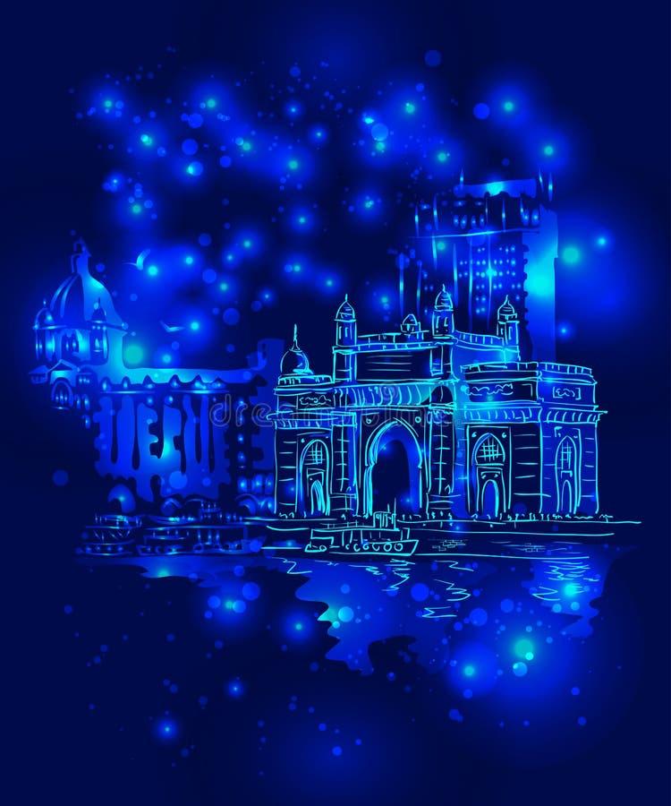 Mumbai India Gate royalty free illustration