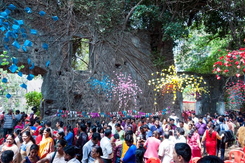 Mass at ruins of St. John the Baptist church, Mumbai royalty free stock photo