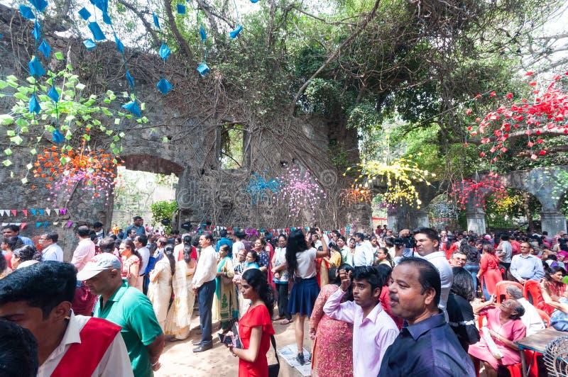 Mass at ruins of St. John the Baptist church, Mumbai stock photos