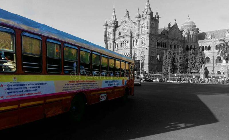 Chhatrapati Shivaji Terminus CST is a UNESCO World Heritage Site and an historic railway station in Mumbai, India. MUMBAI, INDIA - MAY 04, 2018 - BEST bus used royalty free stock photos