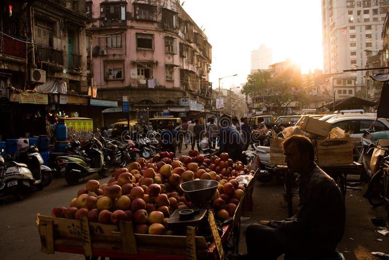 Mumbai, India, 20 november 2018 / Sunset in the Chor Bazaar market, fruit seller in the street.  stock image