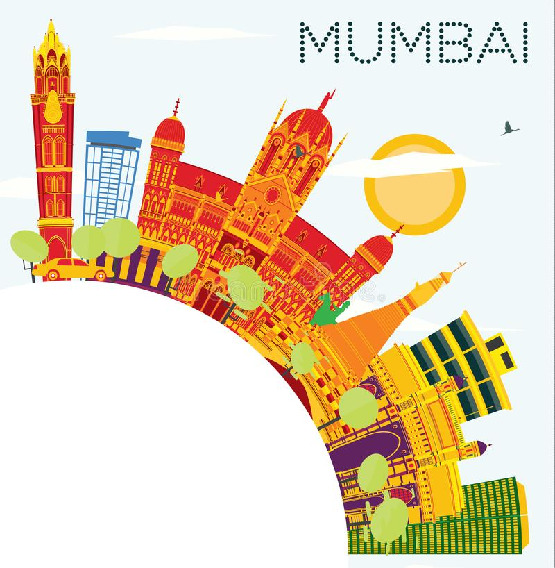 Mumbai India Skyline with Color Buildings, Blue Sky and Copy Spa. Ce. Vector Illustration. Business Travel and Tourism Concept with Historic Architecture stock illustration