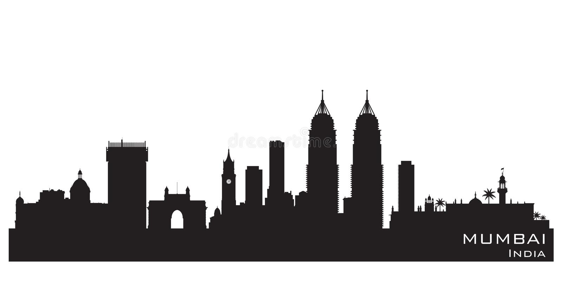 Mumbai India city skyline vector silhouette. Mumbai India skyline Detailed vector silhouette vector illustration