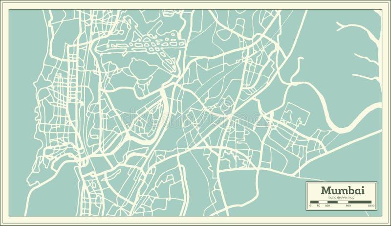 Mumbai Indien stadsöversikt i Retro stil skisserar kartlägger royaltyfri illustrationer