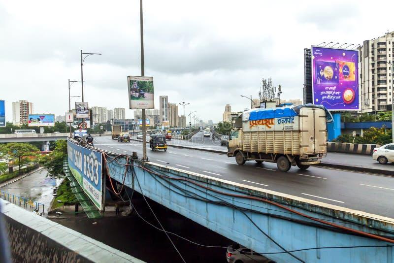 Mumbai, Maharashtra. August 25 2018: Thane Road in mumbai During Raining season India one of the major cities in the Indian state stock photography