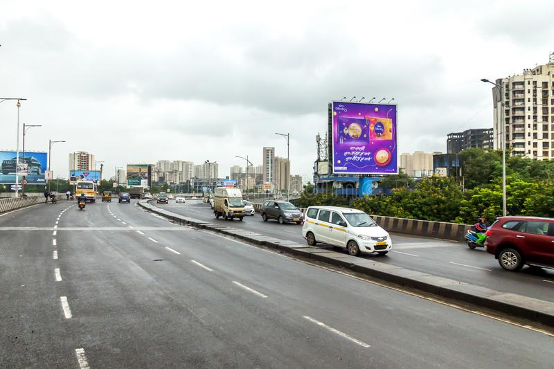 Mumbai, Maharashtra. August 25 2018: Thane Road in mumbai During Raining season India one of the major cities in the Indian state stock photography