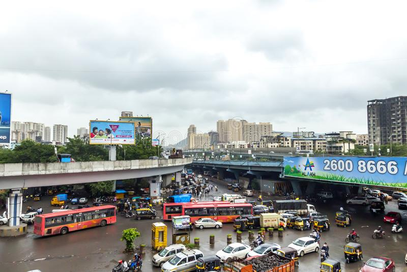 Mumbai, Maharashtra. August 25 2018: Thane Road in mumbai During Raining season India one of the major cities in the Indian state stock photo