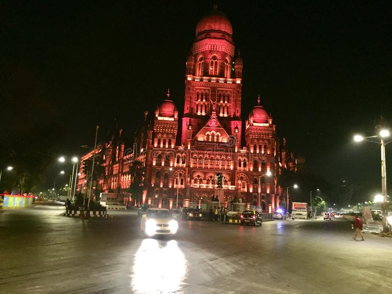 Mumbai Municipal Building Night Panorama, Mumbai, India royalty free stock photography